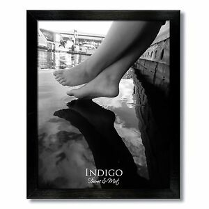 One 8x12 Black Wood  Photo Frame, Clear Glass, with easel backing