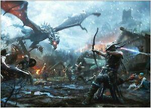 Skyrim The Elder Scrolls Dragon Large Poster Art Print