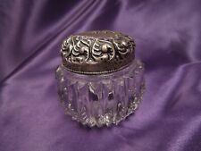 Vintage Pressed Glass Sterling Silver Art Nouveau Lid Vanity Trinket Box
