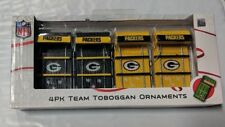 Green Bay Packers Toboggan Holiday Christmas Tree Ornaments 4 pack NEW Sleds
