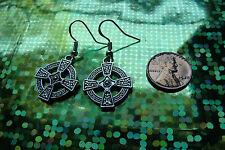 Classic Celtic Silver Cross Charm Earrings on 14K Filled French Hooks 22mm diam
