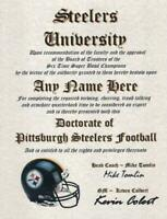 STEELERS PITTSBURGH STEELERS~  NFL MAN CAVE ~ CERTIFICATE ~ DIPLOMA  NEW   GIFT