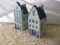 Vintage Delft Blauw blue white china Dutch houses salt pepper cruet set Holland