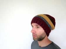 Mens Slouchy Beanie Knit Hat Knitted Cap Crochet Handmade One Size  Acrylic