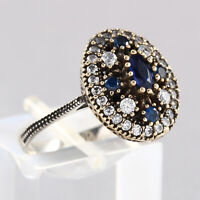 Silver Ladies' Ring Sapphire Zircon Stone Oval Turkish Handmade Jewelry