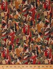 Japanese Geishas Asian Women Imperial Metallic Cotton Fabric Print BTY D780.56