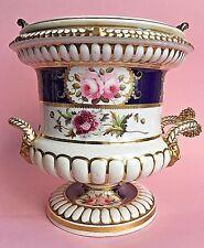 Antique 19thC Derby? Porcelain Urn Ice Bucket Planter Floral Sliver