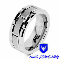 8mm Men's Tungsten Carbide Ring Silver Wedding Band Brick Pattern Size 8-16