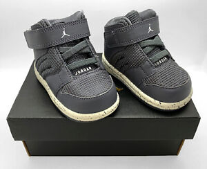 NIKE AIR JORDAN 1 FLIGHT 4 PREM Gray Infant Sneakers - Size 3C (828244-002) NEW!