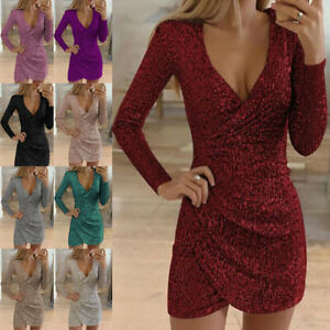 Womens Glitter Sequin Evening Party Bodycon Club Cocktail Wrap V Neck Mini Dress