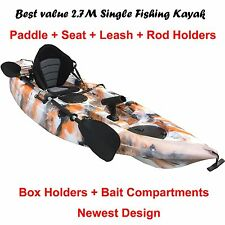 2.7M Fishing Kayak Single Sit-on 5 Rod Holders Seat Paddle Orange Camo