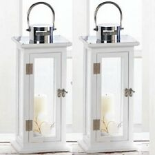 """2 Stylish Wood Lantern 16""""Tall Large White Silver Top Candleholder Centerpieces"""