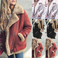Women Winter Loose Trench Coat Warm Long Jacket Parka Motor Belt Buckle Overcoat