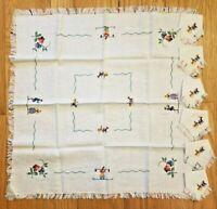 "Vintage Set 6 Linen Napkins, Small Table Tea Cloth 26"" x 26"" Folk Art Embroidery"