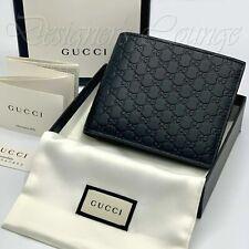NIB GUCCI MicroGuccissima GG Men's Black Leather Bi-Fold Wallet