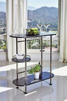 3-Tier Modern Pub Height Bar Table with Stemware RackBlack Nickel And Black Oak