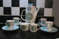 Retro meakin blue inca coffeepot teapot/ teaset/ mil jug/ sugar pot/ 4 cups