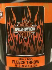 Harley Davidson Logo Flames Classic Orange Flame fleece blanket  throw NEW