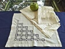"11 Antique Victorian Linen 14"" Tea Napkins Geometric Teneriffe Lace Hemstitch"