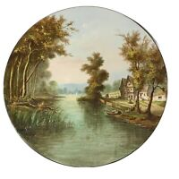 """Hand Painted Charger Plate 14 3/4"""" Signed Tulien Stamped MB River Trees"""