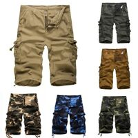 Men Cargo Shorts Casual Army Camo Pockets Short Half Pants Trouser Military Size