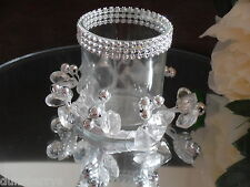 2 WEDDING TEALIGHT HOLDERS TABLE CENTREPIECES, DIAMANTE & BEAD DECORATION