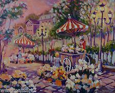 "Brian Simons Acrylic 24x30"" Bright Summer Market Landscape Painting Canadian"