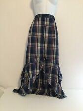 Reba Blue Plaid Fully Lined 100% Cotton Ruffled Zip Up Midi Skirt Size 8 NWOT