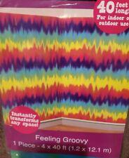 """40ft Tye Dye 60's """"Feeling Groovy"""" Peace Party Scene Setter Room Roll Decoration"""