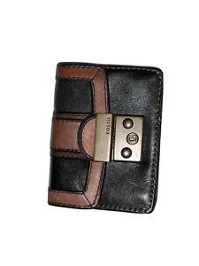 fossil vr card case black/brown