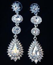EARRING using Swarovski Crystal Dangle Drop Wedding Bridal Fancy Silver SW8 Long