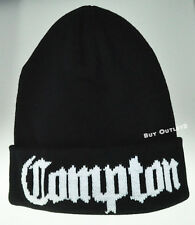 COMPTON Black & White Vintage Hip Hop Cuffed Beanie Beannies Hat Hats Unisex New