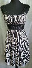 Love Tease Black & White Zebra Sequin Dress Size Medium - VGC