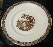 UNMARKED Bone China Piatto per torta con motivo retrò vintage molto! 9 1/8 INS Diam