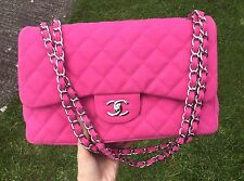 Authentic Hot Pink Chanel Classic Flap Jumbo Caviar Handbag Bag Limited Edition