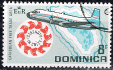 Dominica Aviation Aircraft over Island Map stamp 1974