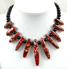 Rose red Sea Sediment Jasper &agate Handmade Gemstone Jewellery Necklace H13