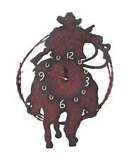 Western Orologio Parete Cowboy Decorazione Metallo Cavallo Lasso Ferro Di
