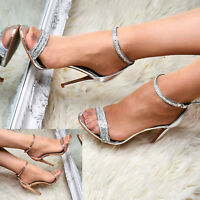 Ladies Diamante Ankle Strap Party Sandals Women High Heel Evening Bridal Shoes