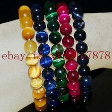 Pretty Multicolor Tiger's Eye Round Gemstone Beads Stretch Bracelet 7.5'' AAA