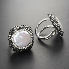 1Pcs CZ Paved Edge Round Natural White Pearl Silvery Ring DIY Handmade HJA328