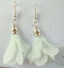 925 Silver Plated Hook 2.9'' Women Fashion Net yarn Petal Flower green Earring