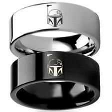 tamaño de Reino Unido P-Negro-Hi Calidad grabado con el logotipo de banda de acero inoxidable Anillo de Batman