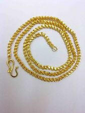22K 24K Gold Yellow Solid GP Jewelry 4mm harness rope Unisex Chain Necklace 22""