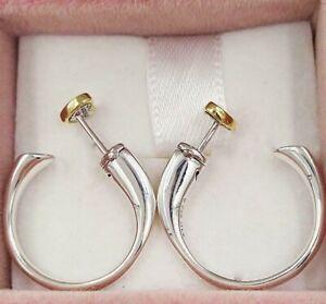 Genuine PANDORA Sterling Silver & CZ TWO TONE HEART Hoop Earrings S925 ALE