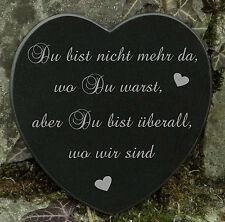 Grabschmuck Trauerspruch Gedenkstein Marmor Du bist nicht mehr da - Herz 12,5cm
