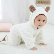 Newborn Baby Girl Boy Bear Romper Jumpsuit Bodysuit Outfits Hooded Warm Clothes