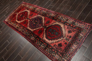 "3'6"" x 7'6"" Vintage Runner Hand Knotted Wool Hamadaan Oriental Area Rug Red"