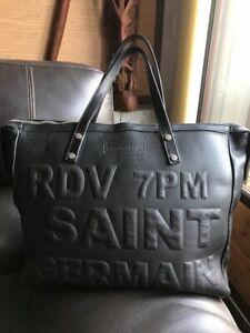Grand sac cabas  noir en cuir Barbara Rihl