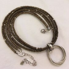 Silpada Bronze Bead 3 Strand Necklace N1591 & S1637 Intertwined Circle Pendant